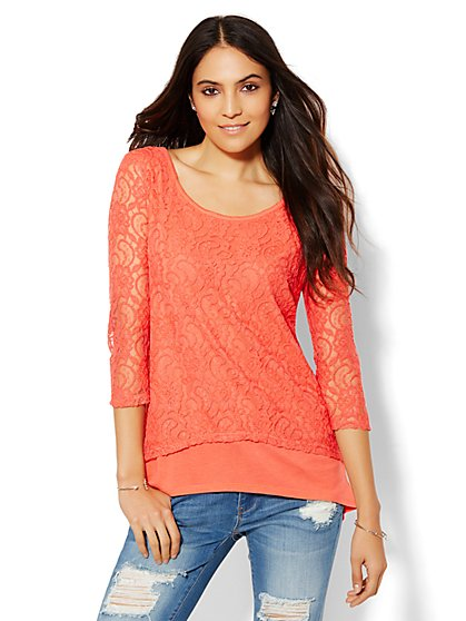 Lace Overlay Hi-Lo Top  - New York & Company