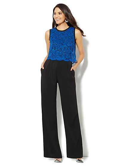 Lace-Overlay Jumpsuit  - New York & Company