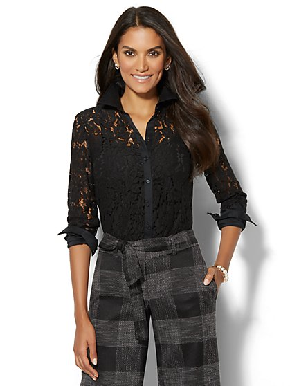 Lace-Overlay Madison Stretch Shirt - Petite  - New York & Company