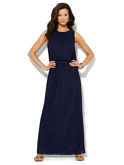 Lace Overlay Maxi Dress - Petite  - New York & Company