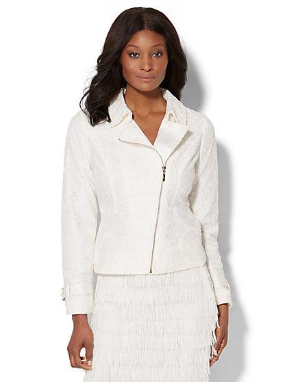 Lace-Overlay Moto Jacket - New York & Company