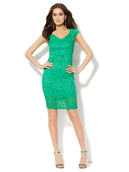 Lace Overlay Sheath Dress  - New York & Company