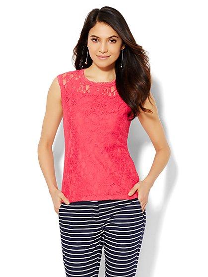 Lace Overlay Shell - New York & Company