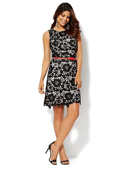 Lace Overlay Shift Dress - New York & Company