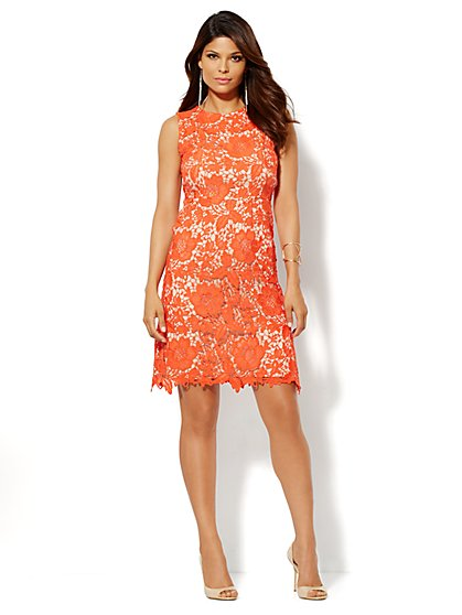 Lace Overlay Shift Dress - New York & Company