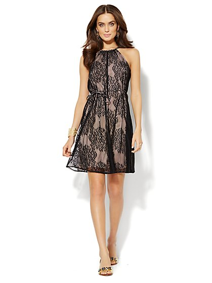 Lace-Overlay Sleeveless Dress  - New York & Company