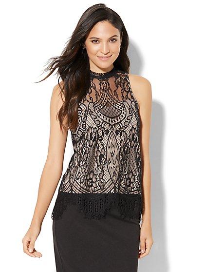 Lace-Overlay Sleeveless Top - New York & Company