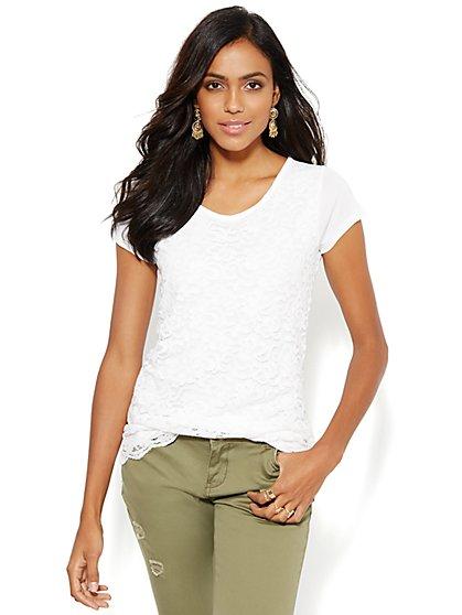 Lace Overlay T-Shirt  - New York & Company
