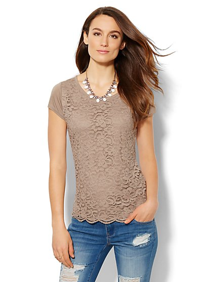 Lace Overlay T-Shirt  - New York & Company
