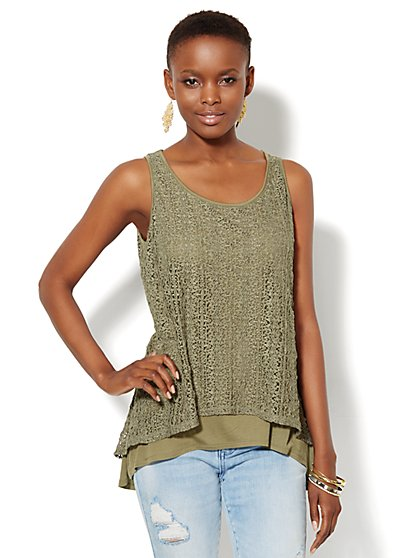 Lace Overlay Tank Top  - New York & Company