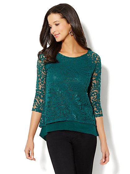 Lace Overlay Top  - New York & Company