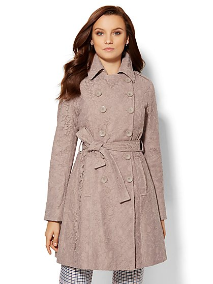 Lace-Overlay Trench Coat  - New York & Company