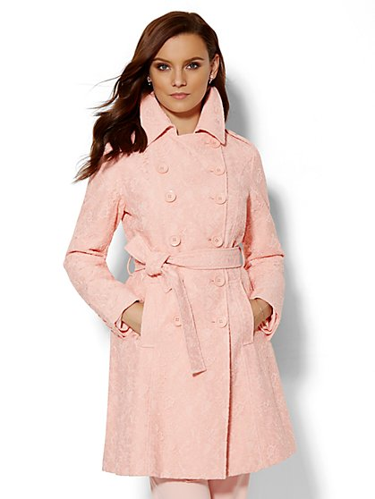 Lace-Overlay Trench Coat  - New York & Company