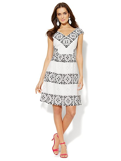 Lace-Overlay V-Neck Dress  - New York & Company
