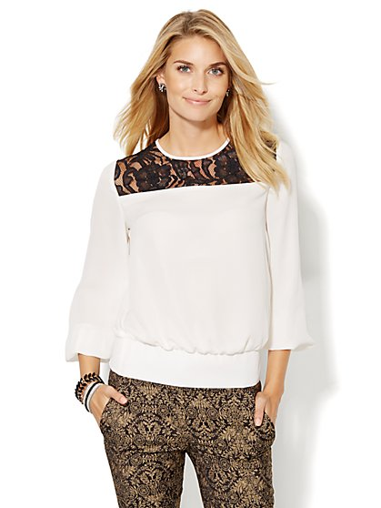 Lace Panel Banded-Hem Blouse  - New York & Company