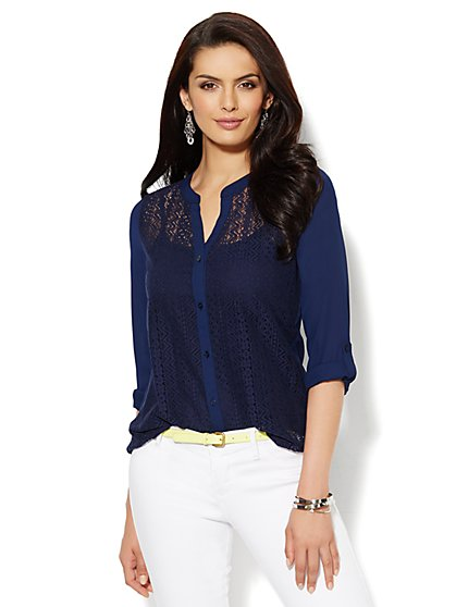 Lace-Panel Blouse  - New York & Company