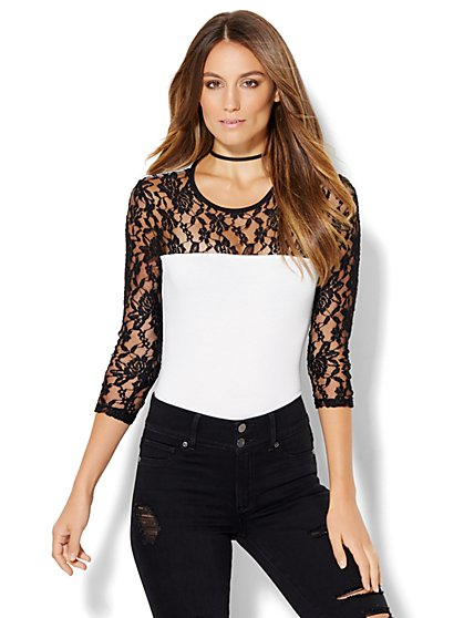 Lace-Panel Bodysuit  - New York & Company