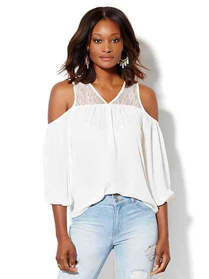 Lace-Panel Cold-Shoulder Blouse  - New York & Company