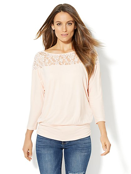 Lace-Panel Dolman Top - New York & Company