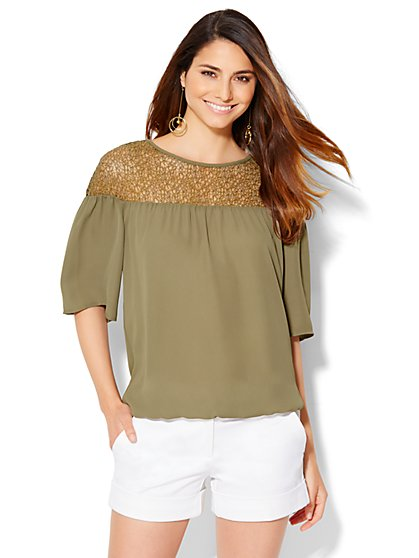 Lace-Panel Peasant Blouse  - New York & Company