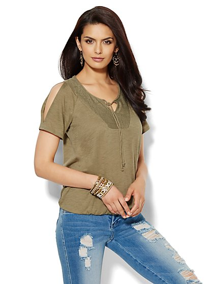 Lace-Panel Peasant Tee - New York & Company