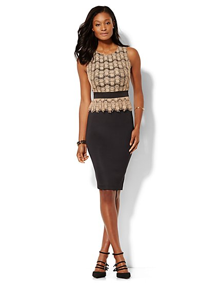 Lace Peplum Scuba Midi Dress - New York & Company