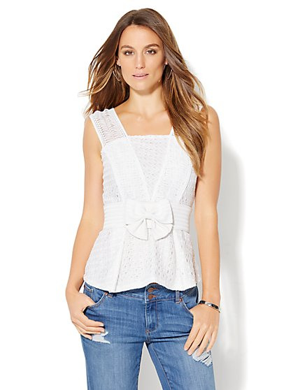 Lace Peplum Top - White  - New York & Company