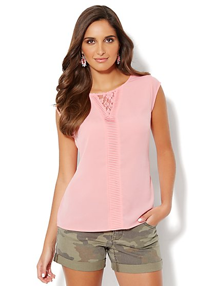 Lace & Pleat-Trim Top - Coral