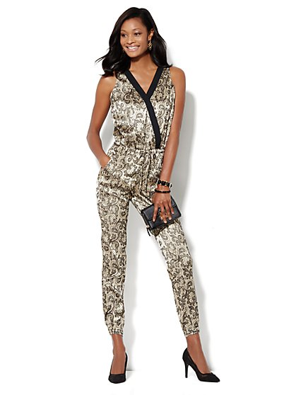 Lace-Print Faux Wrap Jumpsuit  - New York & Company