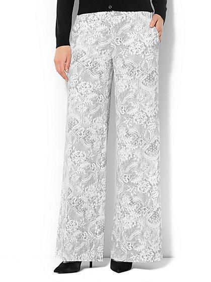 Lace-Print Palazzo Soft Pant  - New York & Company