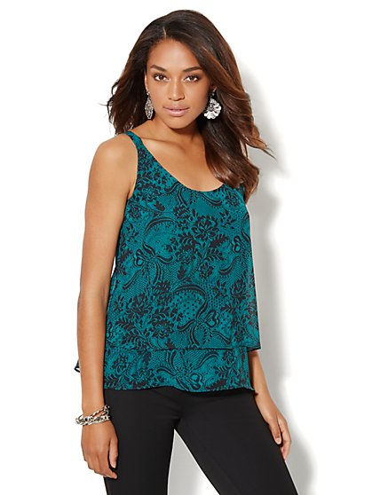 Lace-Print Tiered Camisole - New York & Company