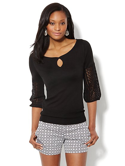 Lace Puff-Sleeve Sweater