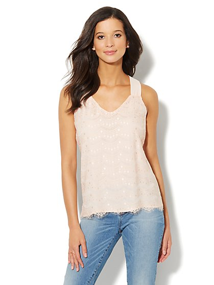 Lace Racerback Shell  - New York & Company
