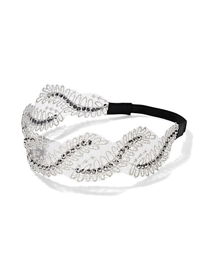 Lace & Rhinestone Headband - New York & Company