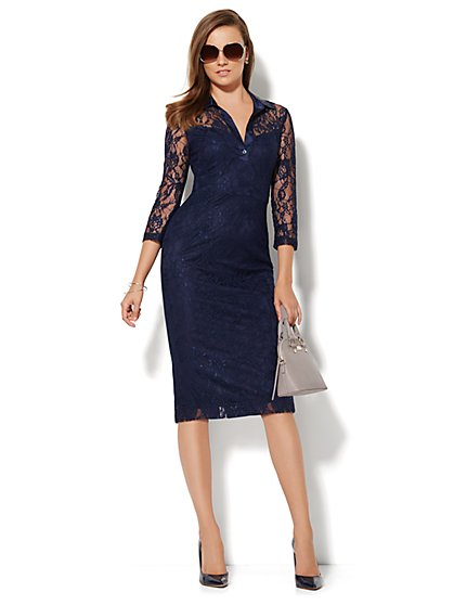 Lace Shirt Dress  - New York & Company