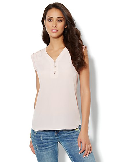 Lace-Shoulder Tunic - New York & Company