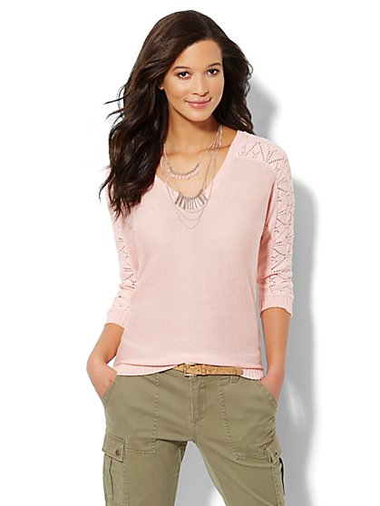 Lace-Stitch Dolman-Sleeve Marled Sweater - New York & Company