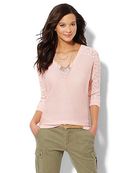 Lace-Stitch Dolman-Sleeve Marled Sweater - New York & Company