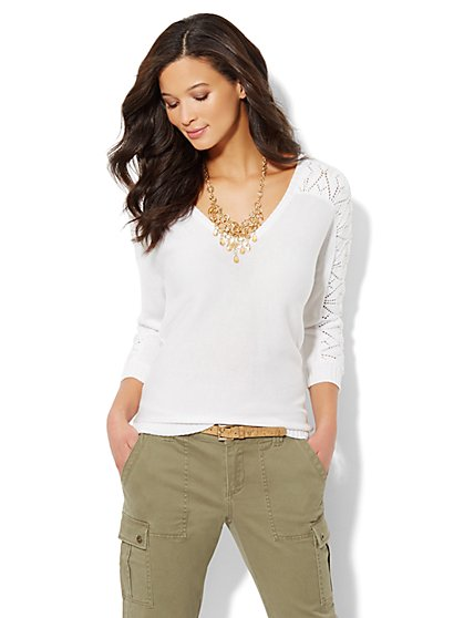 Lace-Stitch Dolman-Sleeve Sweater  - New York & Company