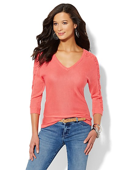 Lace-Stitch Dolman-Sleeve Sweater  - New York & Company