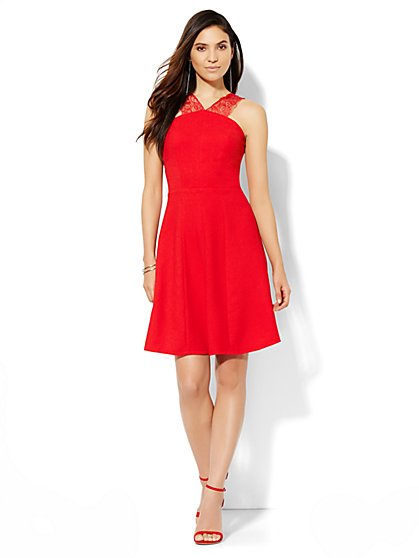 Lace-Strap Flare Dress  - New York & Company