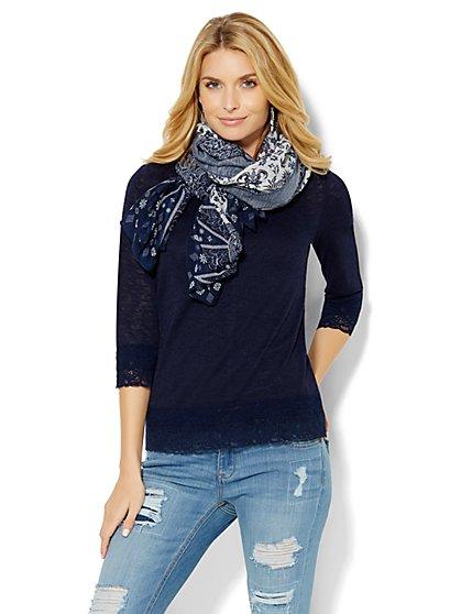 Lace-Trim Bateau-Neck Pullover  - New York & Company