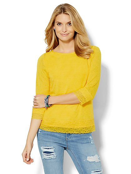 Lace-Trim Bateau-Neck Pullover  - New York & Company