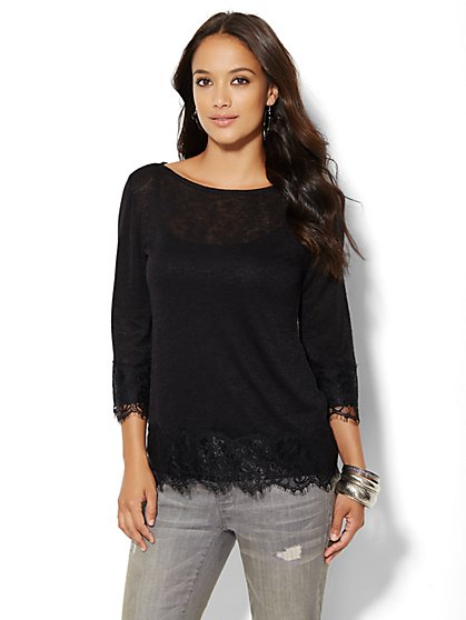 Lace-Trim Bateau-Neck Top - New York & Company