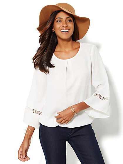 Lace-Trim Bell-Sleeve Blouse  - New York & Company