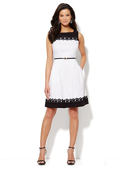 Lace-Trim Belted Dress