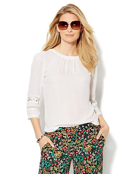 Lace-Trim Blouse - New York & Company