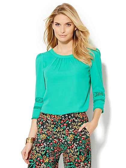 Lace-Trim Blouse - New York & Company
