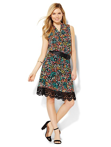 Lace-Trim Bow Dress - Botanical Print  - New York & Company