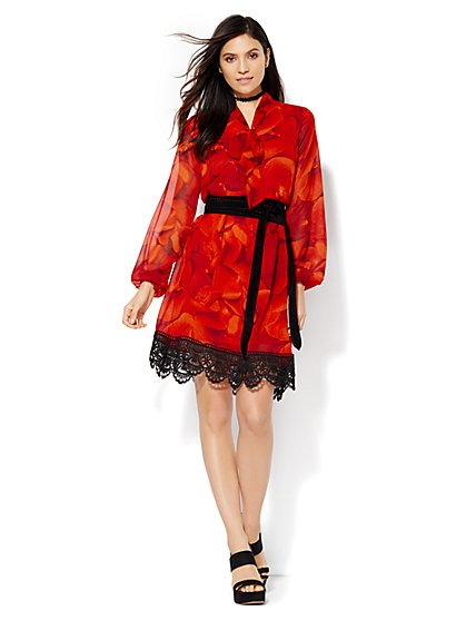 Lace-Trim Bow Dress  - New York & Company
